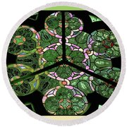 Colorful Rosette In Pink-green Round Beach Towel