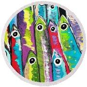 Colorful Sardines Round Beach Towel by Scott D Van Osdol
