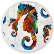 Colorful Seahorse Collage Art By Sharon Cummings Round Beach Towel