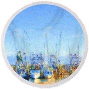 Colorful Shrimp Boat Harbor Pass Christian Ms Round Beach Towel