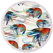 Colorful Shrimp Collage Art By Sharon Cummings Round Beach Towel