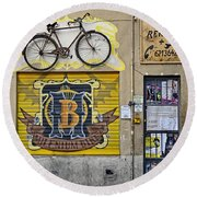 Colorful Signage In Palma Majorca Spain Round Beach Towel