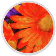 Round Beach Towel featuring the photograph Colorful Silk Flowers by SR Green