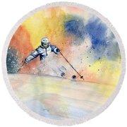 Colorful Skiing Art 2 Round Beach Towel