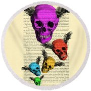 Colorful Rainbow Skull With Wings Illustration On Book Page Round Beach Towel