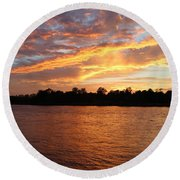 Round Beach Towel featuring the photograph Colorful Sky At Sunset by Cynthia Guinn