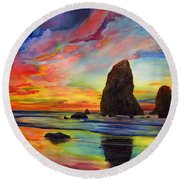 Colorful Solitude Round Beach Towel