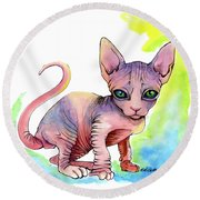 Colorful Sphynx Round Beach Towel