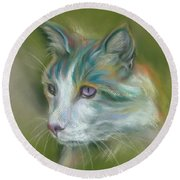 Colorful Spirit Tabby Cat Round Beach Towel