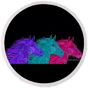 Round Beach Towel featuring the drawing Colorful Stallions  by Nick Gustafson
