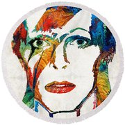 Colorful Star - David Bowie Tribute  Round Beach Towel