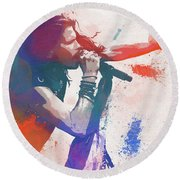 Colorful Steven Tyler Paint Splatter Round Beach Towel