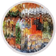 Colorful Street Cafe Round Beach Towel