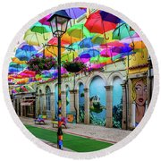 Colorful Street Round Beach Towel by Marco Oliveira