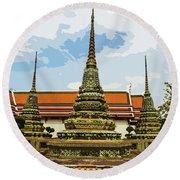 Colorful Stupas At Wat Pho Round Beach Towel