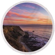 Colorful Sunset At Golden Cove Round Beach Towel