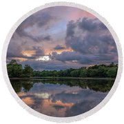 Round Beach Towel featuring the photograph Colorful Sunset At The Lake by Lori Coleman