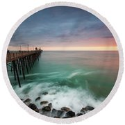Colorful Sunset At The Oceanside Pier Round Beach Towel