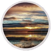 Colorful Sunset Round Beach Towel by Doug Long