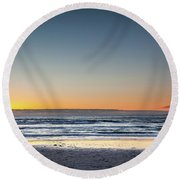 Colorful Sunset Over A Desserted Beach Round Beach Towel