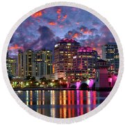 Colorful Sunset Over Downtown West Palm Beach Florida Round Beach Towel