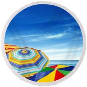 Colorful Sunshades Round Beach Towel by Carlos Caetano