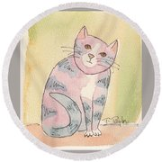 Colorful Tabby Round Beach Towel