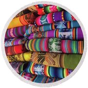 Colorful Tablecloths Round Beach Towel