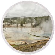 Round Beach Towel featuring the photograph Colorful Thermal Pool by Sue Smith