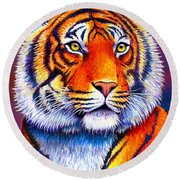 Fiery Beauty - Colorful Bengal Tiger Round Beach Towel
