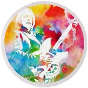 Colorful Tom Petty Round Beach Towel
