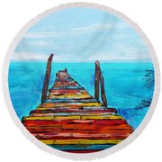 Colorful Tropical Pier Round Beach Towel