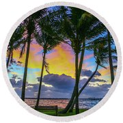 Colorful Tropical Sky Round Beach Towel