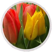 Colorful Tulip Bouquet Round Beach Towel