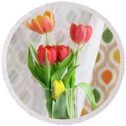 Colorful Tulips And Bulbs In Glass Vase Round Beach Towel