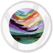 Colorful Uprising 5 Circle- Art By Linda Woods Round Beach Towel