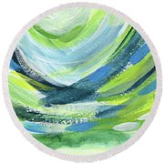 Colorful Uprising 7- Art By Linda Woods Round Beach Towel