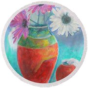 Colorful Vases And Flowers Round Beach Towel