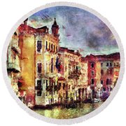 Colorful Venice Canal Round Beach Towel