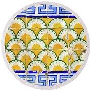 Colorful Vintage Portuguese Tiles Round Beach Towel