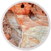 Round Beach Towel featuring the photograph Colorful Wall Of Sandstone In Valley Of Fire by Ray Mathis