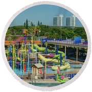 Colorful Water Park Round Beach Towel