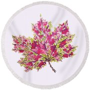 Colorful Watercolor Autumn Leaf Round Beach Towel
