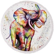Round Beach Towel featuring the painting Colorful Watercolor Elephant by Georgeta Blanaru