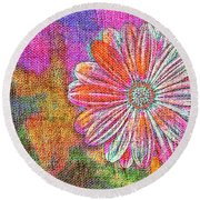 Colorful Watercolor Flower Round Beach Towel
