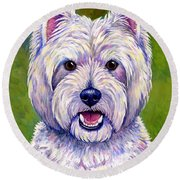 Colorful West Highland White Terrier Dog Round Beach Towel
