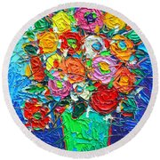 Colorful Wildflowers Abstract Modern Impressionist Palette Knife Oil Painting By Ana Maria Edulescu  Round Beach Towel