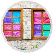 Colorful Windows Round Beach Towel