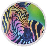 Colorful Zebra Round Beach Towel