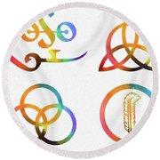 Colorful Zoso Symbols Round Beach Towel